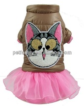 Winter lovely coffee cat dog coat pet dog jacket dog clothes wholesale