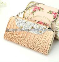 handbag croco plum blossom flower diamond bling wallet leather case For iPhone 5C MINI