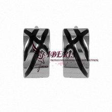huggie earrings black enamel stainless steel men's earrings