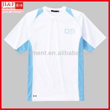 Quick dry cheap t shirts for sports in white and blue 100% polyester