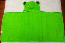 2014 green frog baby robes children towels kid hooded robe bath towel moq 400