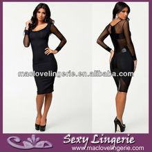 ML17963 Mesh Panels Bodycon Midi Dress With Black Snake Print Cross To Back Long Sleeve Evening Dress