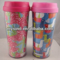 16 oz AS double wall water bottle, plastic drinking cup, plastic tumbler with removable paper insert