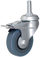 Grey rubber adjustable industrial wheel casters