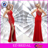 YW063 Beaded Embroidery Red One Shoulder Sexy Side Slit Latest Dress Designs