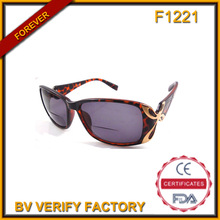F1221 Tortoise Bifocal Sun&Reading Glasses with Metal Deco ( China Manufacturer)