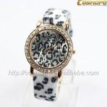 super luxury sexy girl ladies women quartz watch dress style fashion leopard print leather diamond face wrist watch Japan MOVT