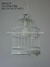 White wrought iron bird cage chandelier, LED energy-saving light