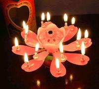 Lotus flower music fireworks birthday candle