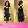 venda quente por atacado black crossover frente vestido longo com fendas na adolescência do vestido extravagante