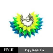 2014 wholesale multi layer punk rivet acrylic bracelets