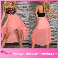 Sexy venta al por mayor Pink Lace Top Overlay gasa larga del vestido de partido sin tirantes del vestido único de la tarde madura vestidos