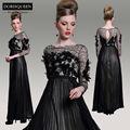 dorisqueen nova chegada de uma linha de design original preto lindo ver através 2014 manga longa vestidos de noite