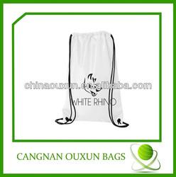 logo printing fold up polyester drawstring bag