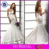 Handmade Strapless Lace Up Back Pleat Crystal Mermaid Wedding Dress 2014(ED-W169)