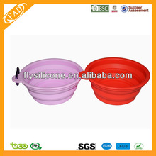 2014 New Design Eco-friendly Folding Colorful Silicone Water Feeder Travel pet Bowl