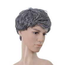 Cheap New Natural Gray Hair Wig For Men,Old Men Wig