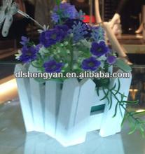 Mini cute white wooden artificial flower pots cheap home decorations