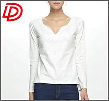 Womem Blank T-shirt Summer/Deep v neck t shirt/Cheap t shirts in bulk plain