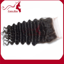 Carina Hair Products Dyeable and Bleachable Deep Wave Silk Based Lace Closure Natural Brazilian Hair Pieces