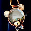 presentes de natal de vidro transparente pingente urso flutuante locket colar encantos strass