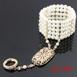 SZ-1700 GOLD Victorian Pearl Bracelet & Ring set, The Great Gatsby Inspired Bracelet and Adjustable Ring Set, Bridal Jewelry