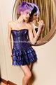nova moda roxo bonito lace up espartilho superior das meninas do partido vestido da dama de honra