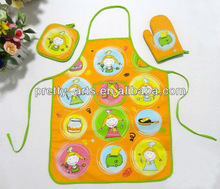 hot new 100%cotton cute kitchen cooking aprons with tea towel and glove