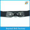 Beyond Black Wide Elastic Stretch Waist Belt with Studs Decor