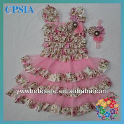 Beatiful Pink Layers Dress Fashion Toddler Girl Floral Print Dress Baby Frock Designs Dress Cutting