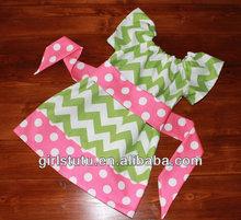 Newest polka dot and lime green girls chevron dress toddler baby girl chevron summer pettidress