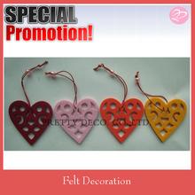 Colorful heart shape decoration felt for 2014 market