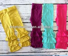 NEW Boutique Ruffle Crop Pants Leggings Orange Green Pink Black Navy