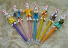 2014 wholesale cute novelty design pretty cartoon rabbit shape ball pen 0.5mm