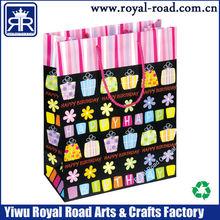 Yiwu Printing Manufacturer OEM Happy Birthday handmade paper gift bag With Ribbon Handles BP041