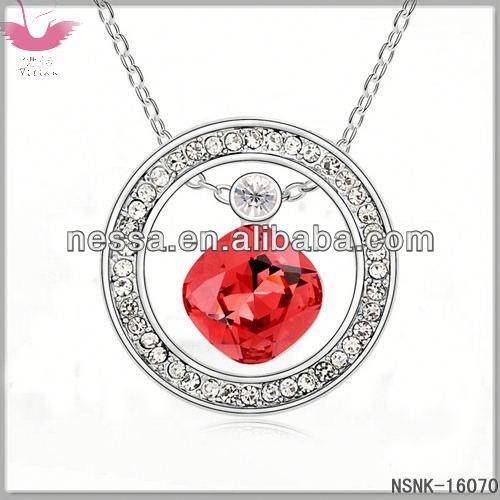 E93556 Austrian crystal necklace - sweet fruit (Ocean Blue + Light Rose)