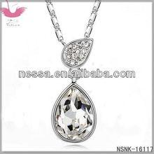 E90201 Austrian crystal necklace - lucky four-leaf clover (black diamonds)