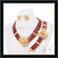 Hot selling peal-like glass bead jewelry set more color can choise ladies jewelry resin jewelry