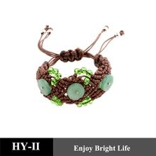 2014 wholesale green jade braided wax cord bracelet