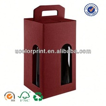 2014 u color paper packaging box for wine bottle carrier made in china