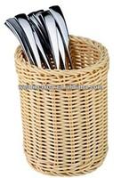 Flatware Basket Wicker Basket for Kitchen Cabinet