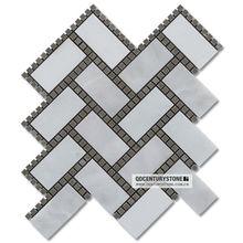 China Dan White and Cinderella blend dots herringbone wall decorative marble mosaic tile
