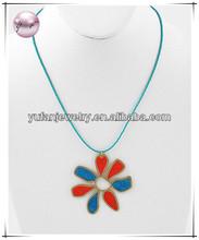 Gold Tone / Turquoise Epoxy Swirls & Seed Beads / Flower Pendant Necklace