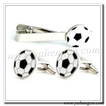 Fashion Design Football Tie Clip Cufflinks Set