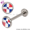 316L Stainless Steel Dominican Republic Flag Logo Barbell Tongue Ring Body Jewelry