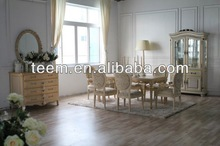 Italy antique style golden and sliver decoration dining tables distressed white dining table