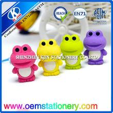 cute custom animal shaped erasers/frog shaped eraser for kids