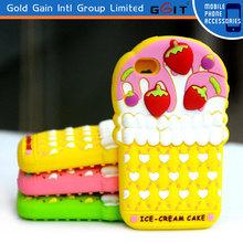 Fashion Cute Strawberry Ice Cream Silicon Case For Nokia Lumia 900, For Lumia 900 Silicon Case