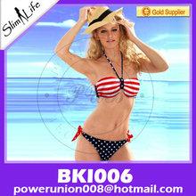 grado superior de encanto caliente sexy estrellas y rayas de la bandera de estados unidos acolchado bikini bandeau trenzado tubo de bikini de la bandera americana paddeswimwear bikini