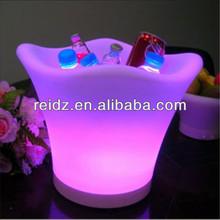 Glowing beautiful lighting barrel used in bar
